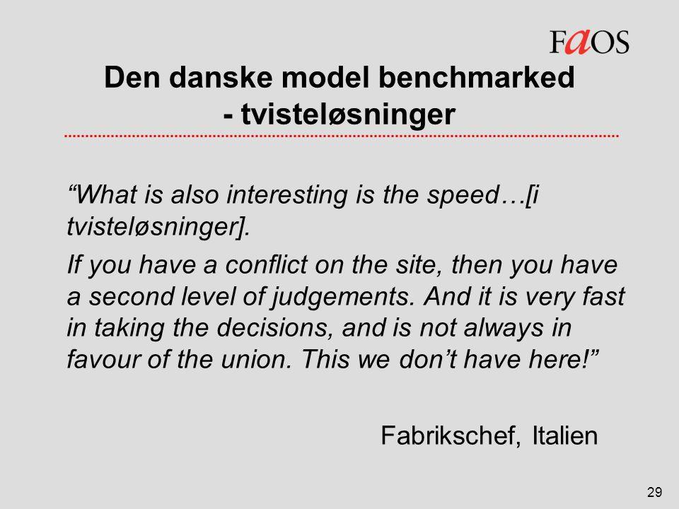 Den danske model benchmarked - tvisteløsninger
