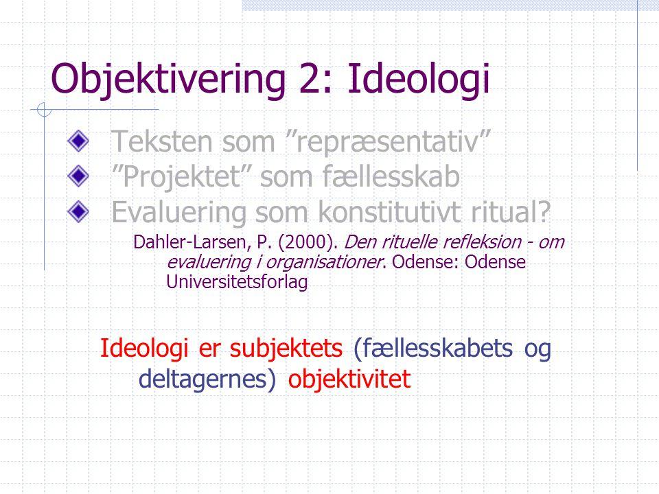Objektivering 2: Ideologi