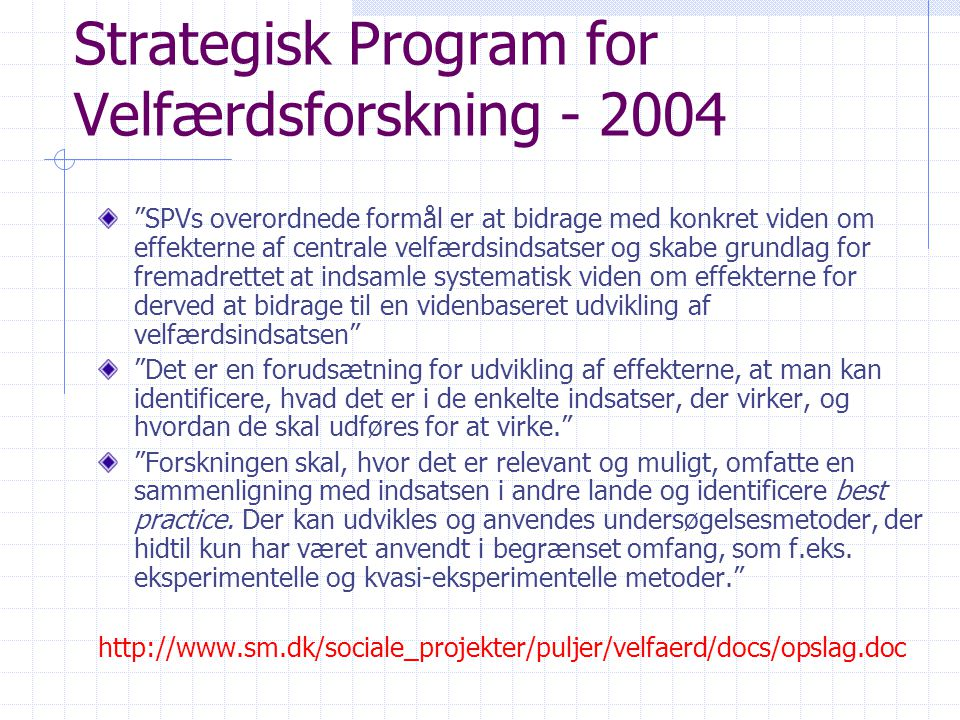 Strategisk Program for Velfærdsforskning - 2004