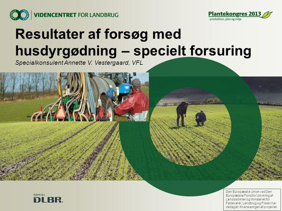Resultater af forsøg med husdyrgødning – specielt forsuring Specialkonsulent Annette V. Vestergaard, VFL