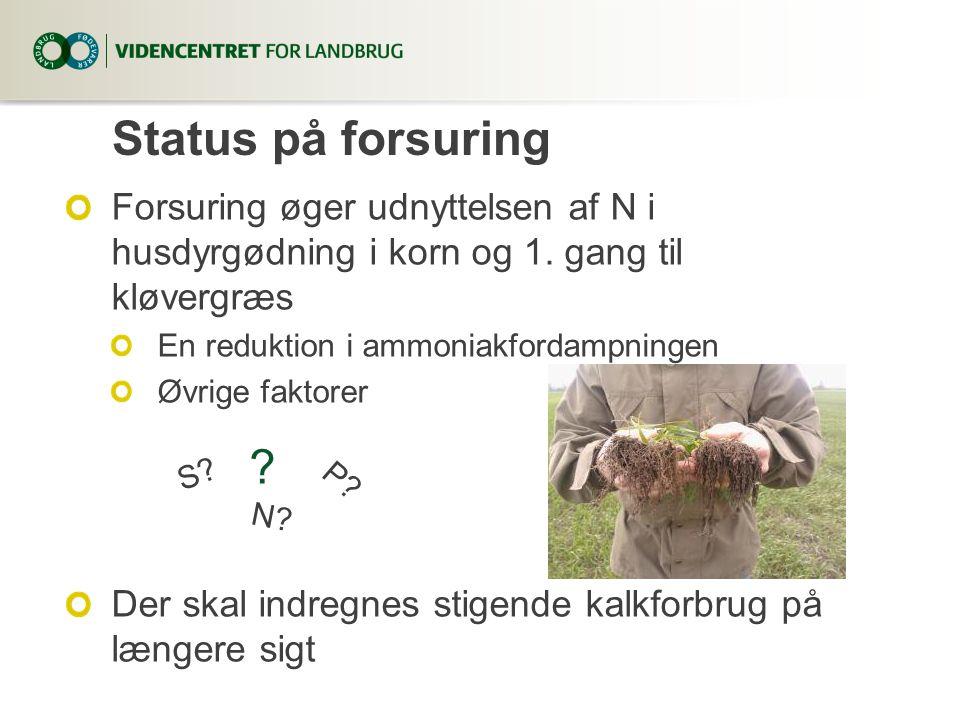 6. april 2017 Status på forsuring. Forsuring øger udnyttelsen af N i husdyrgødning i korn og 1. gang til kløvergræs.