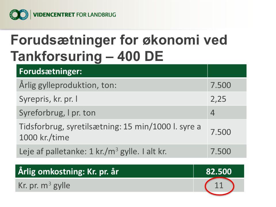 Forudsætninger for økonomi ved Tankforsuring – 400 DE