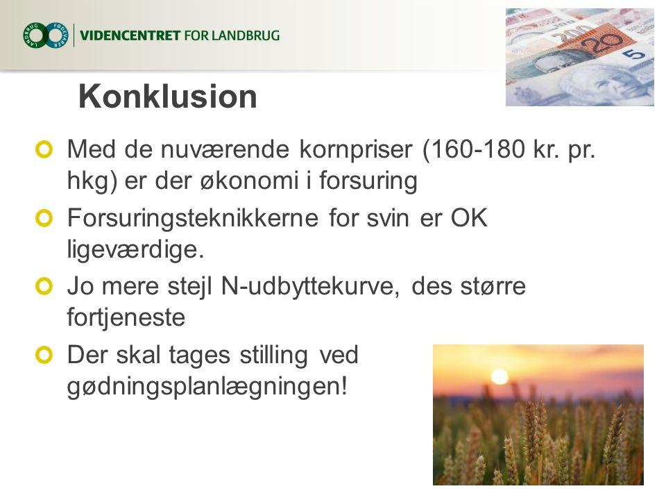 6. april 2017 Konklusion. Med de nuværende kornpriser (160-180 kr. pr. hkg) er der økonomi i forsuring.