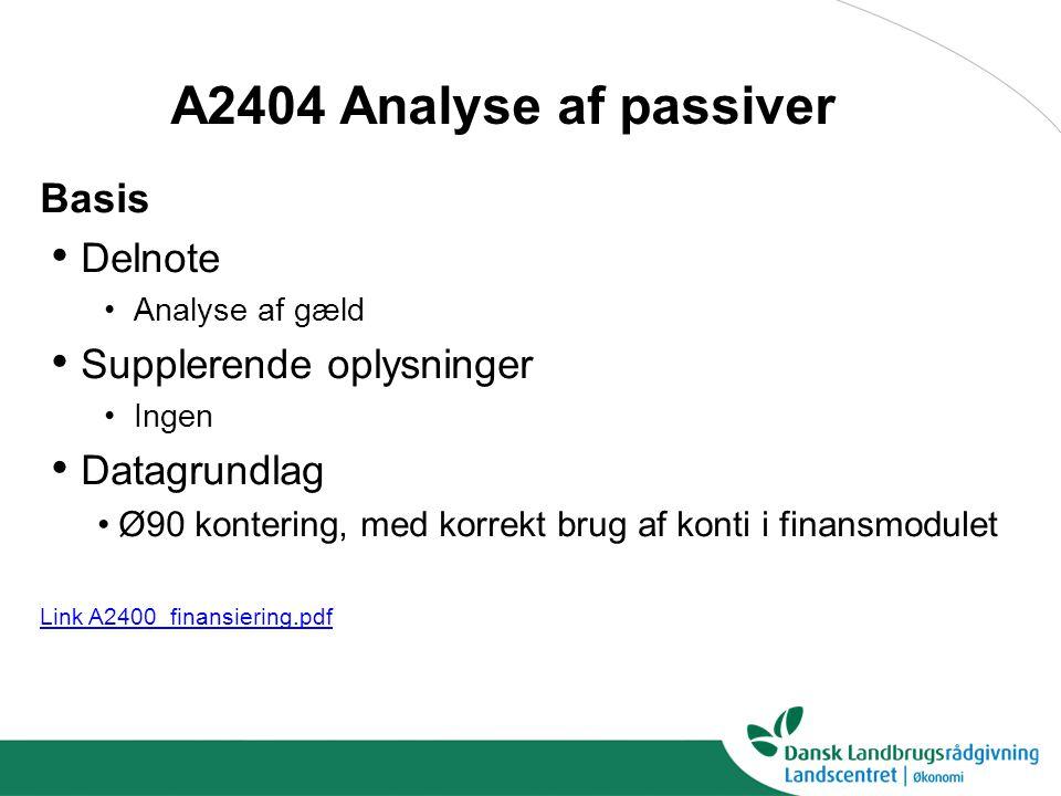 A2404 Analyse af passiver Basis Delnote Supplerende oplysninger