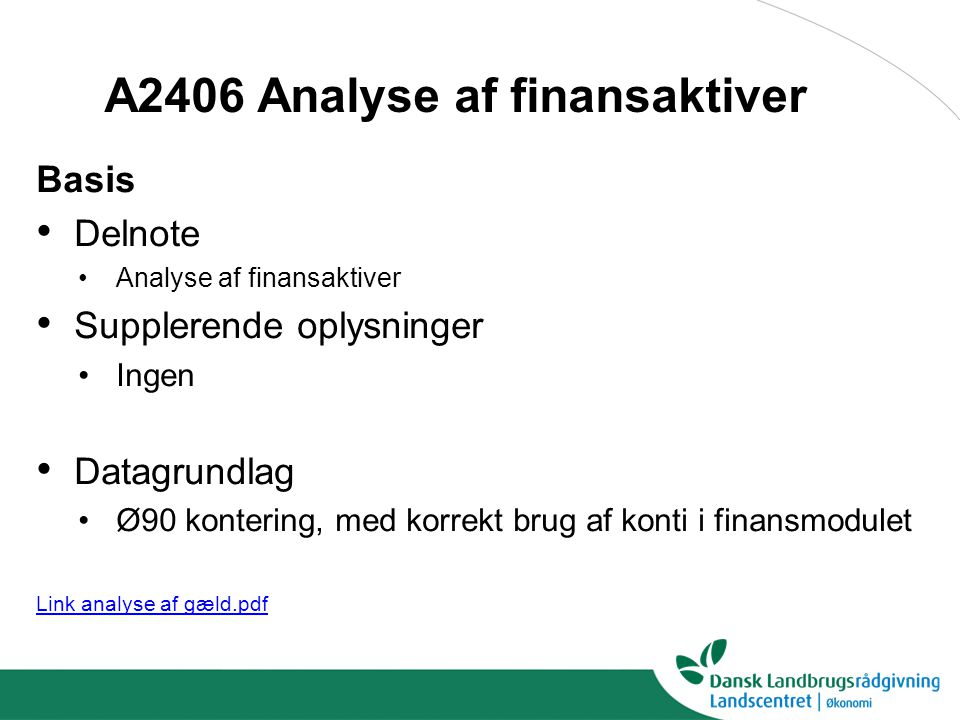 A2406 Analyse af finansaktiver