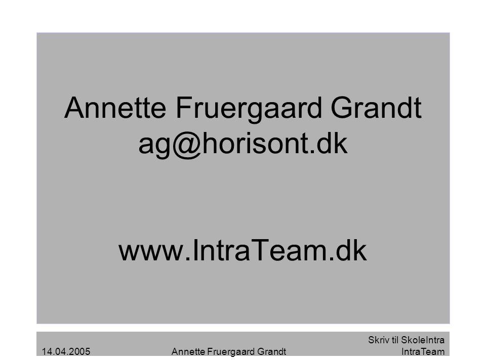 Annette Fruergaard Grandt ag@horisont.dk www.IntraTeam.dk