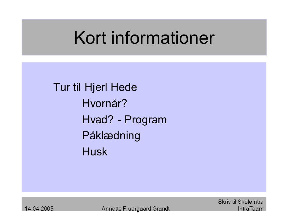 Kort informationer Tur til Hjerl Hede Hvornår Hvad - Program