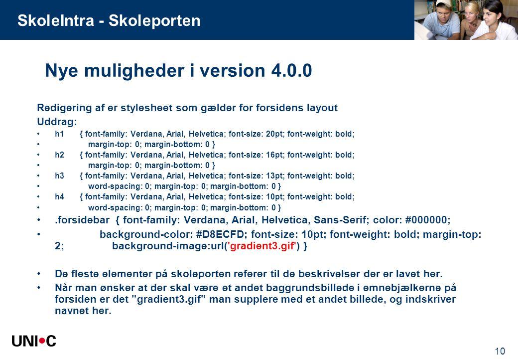 Nye muligheder i version 4.0.0