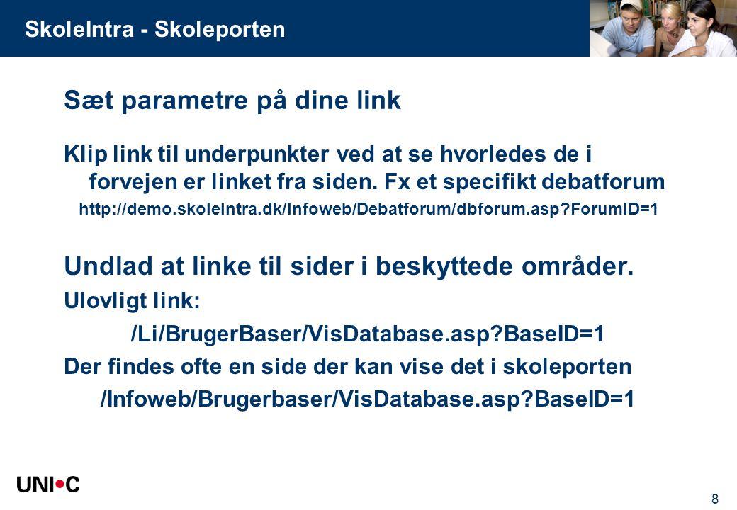 Sæt parametre på dine link
