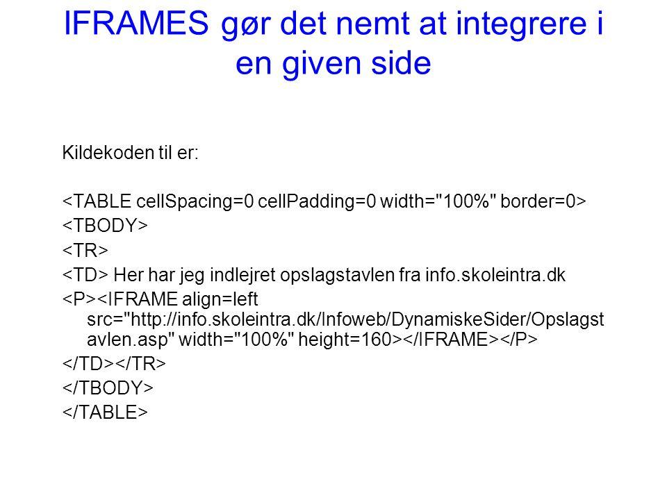 IFRAMES gør det nemt at integrere i en given side