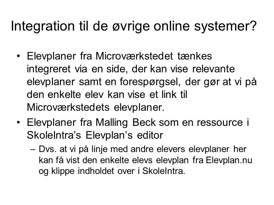 Integration til de øvrige online systemer
