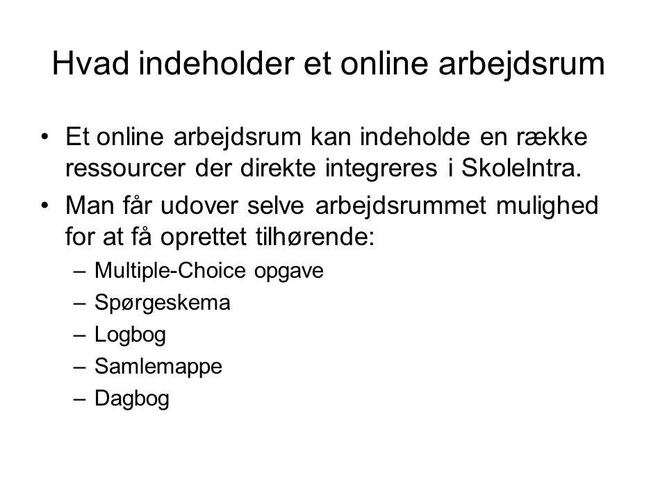 Hvad indeholder et online arbejdsrum