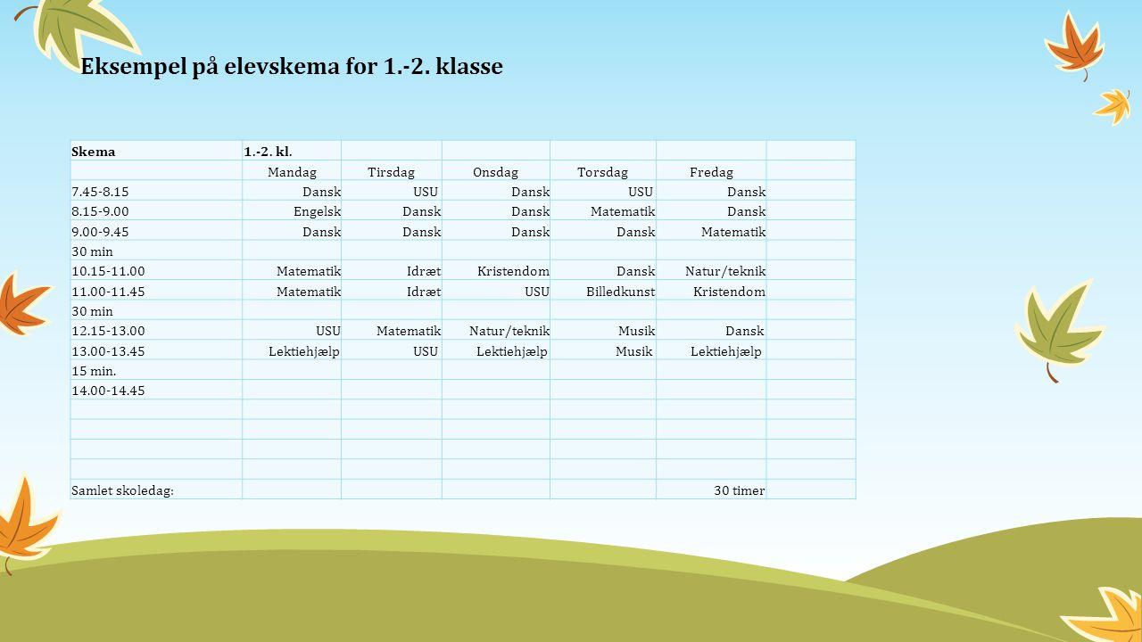Eksempel på elevskema for 1.-2. klasse