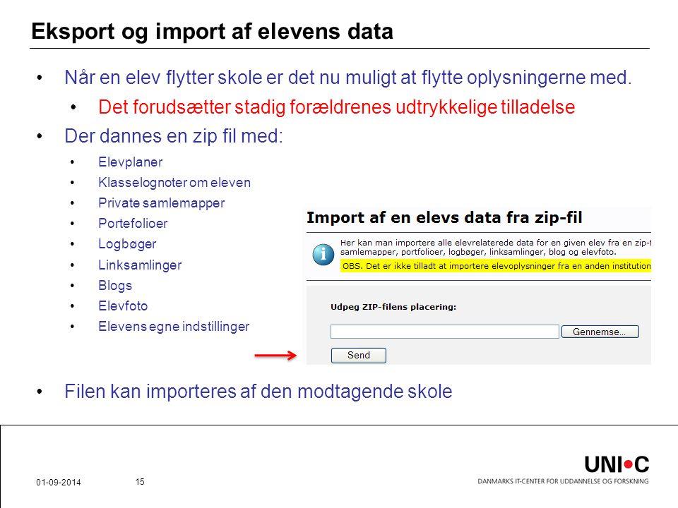 Eksport og import af elevens data
