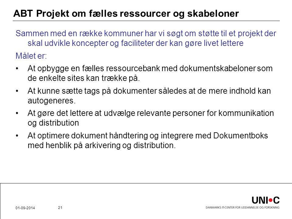 ABT Projekt om fælles ressourcer og skabeloner
