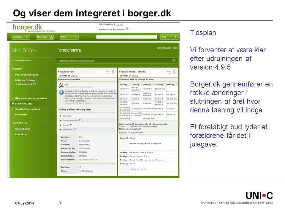 Og viser dem integreret i borger.dk