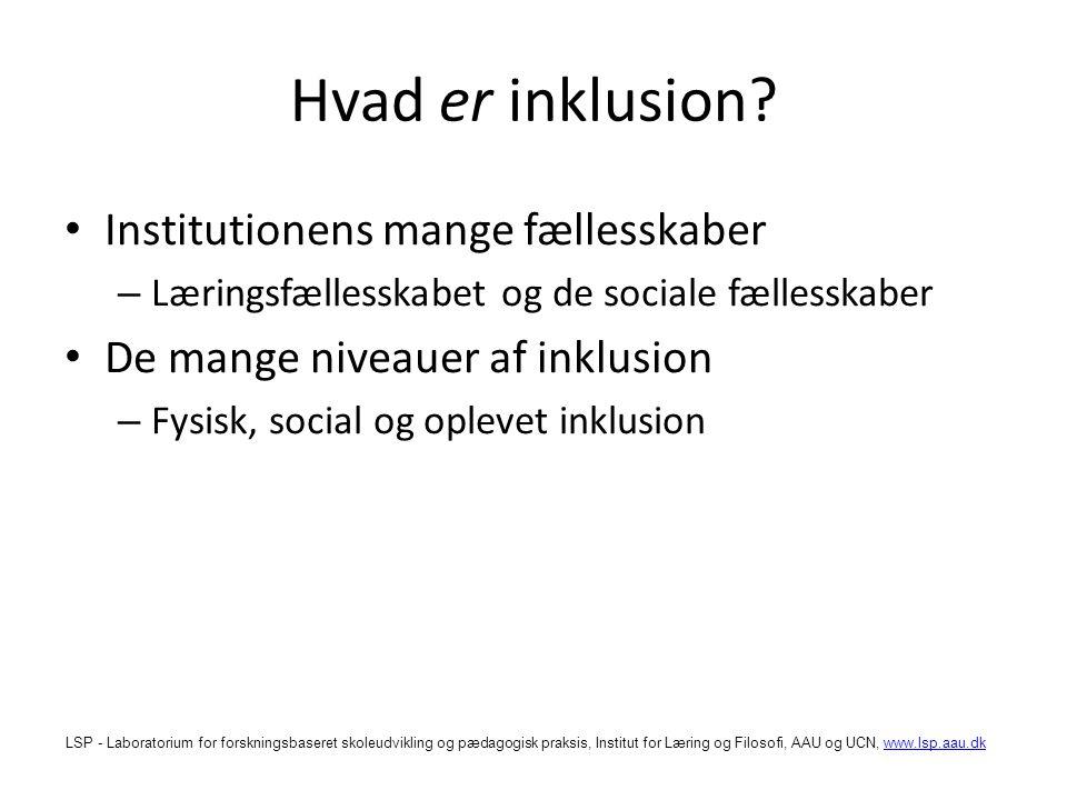 Hvad er inklusion Institutionens mange fællesskaber