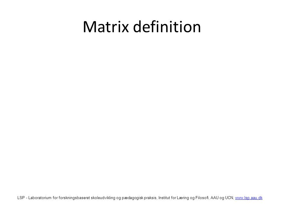 Matrix definition
