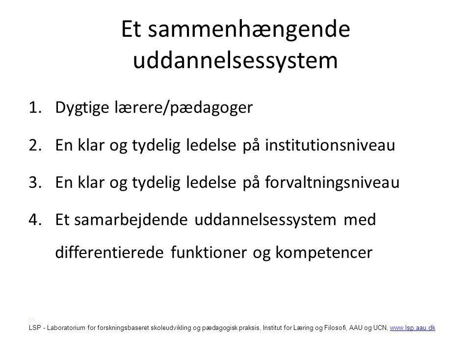 Et sammenhængende uddannelsessystem