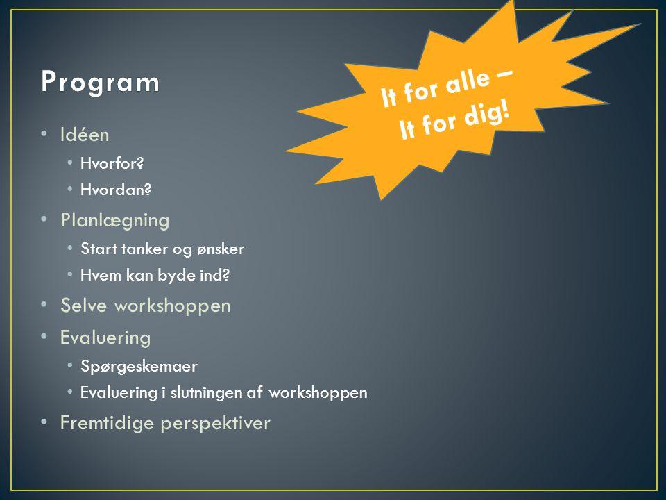 Program It for alle – It for dig! Idéen Planlægning Selve workshoppen