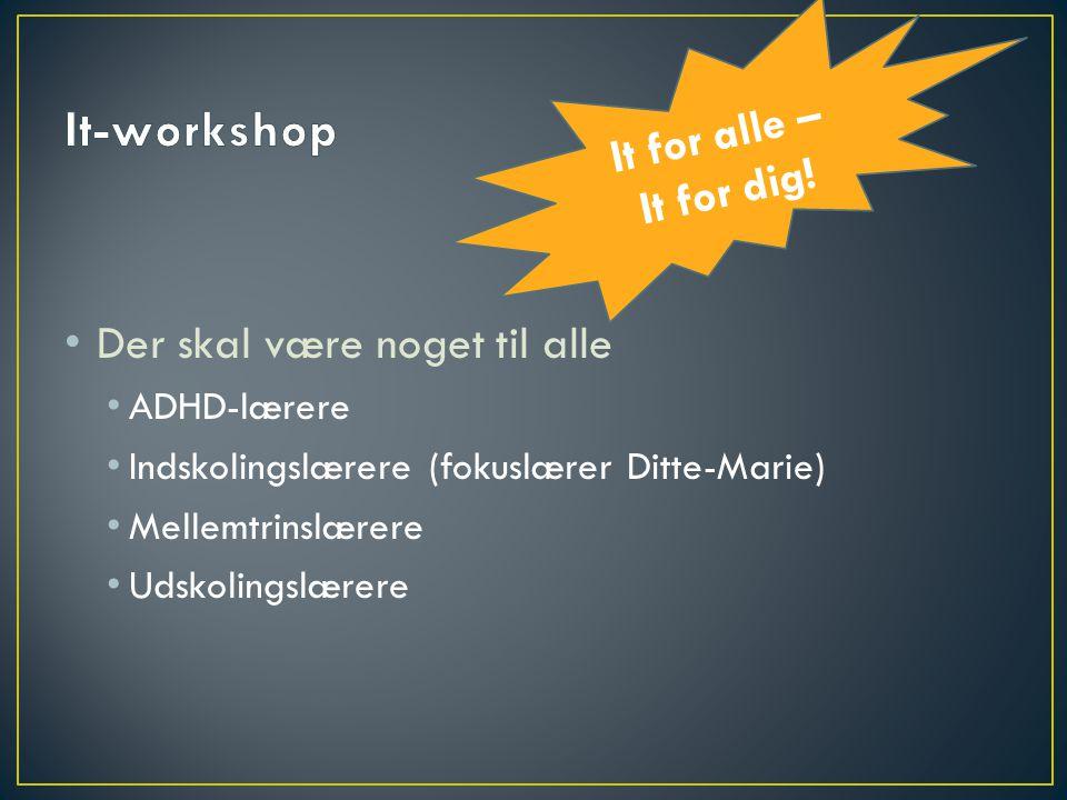 It-workshop It for alle – It for dig! Der skal være noget til alle