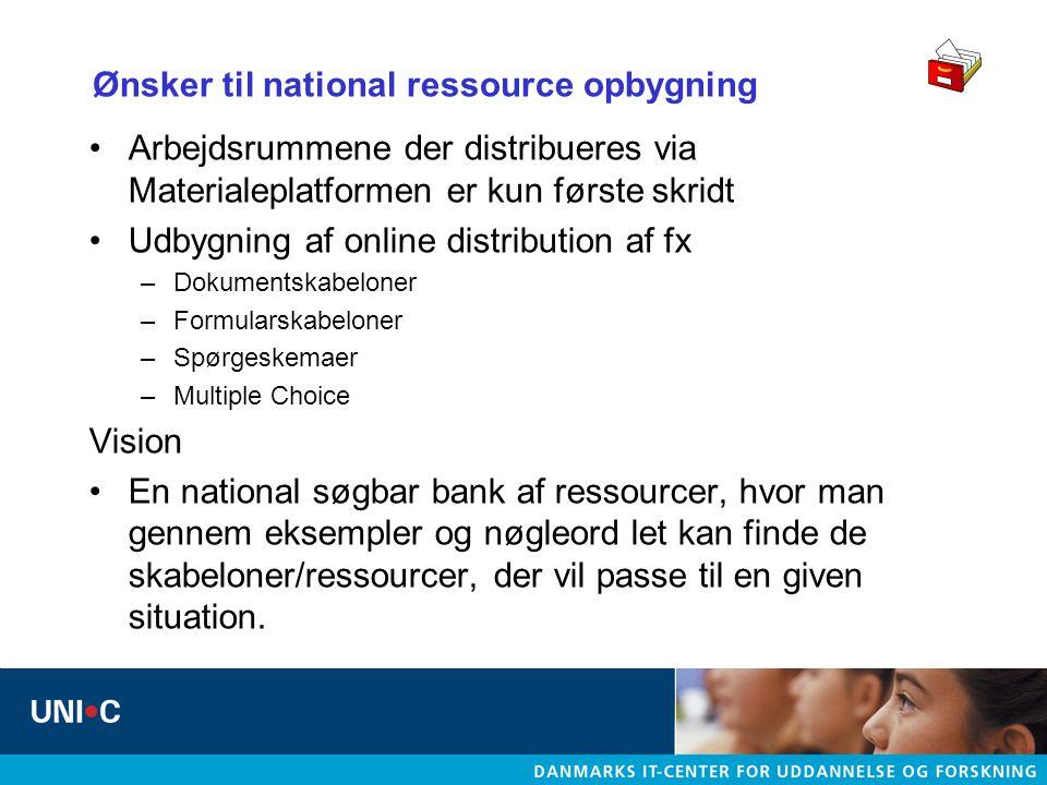 Ønsker til national ressource opbygning