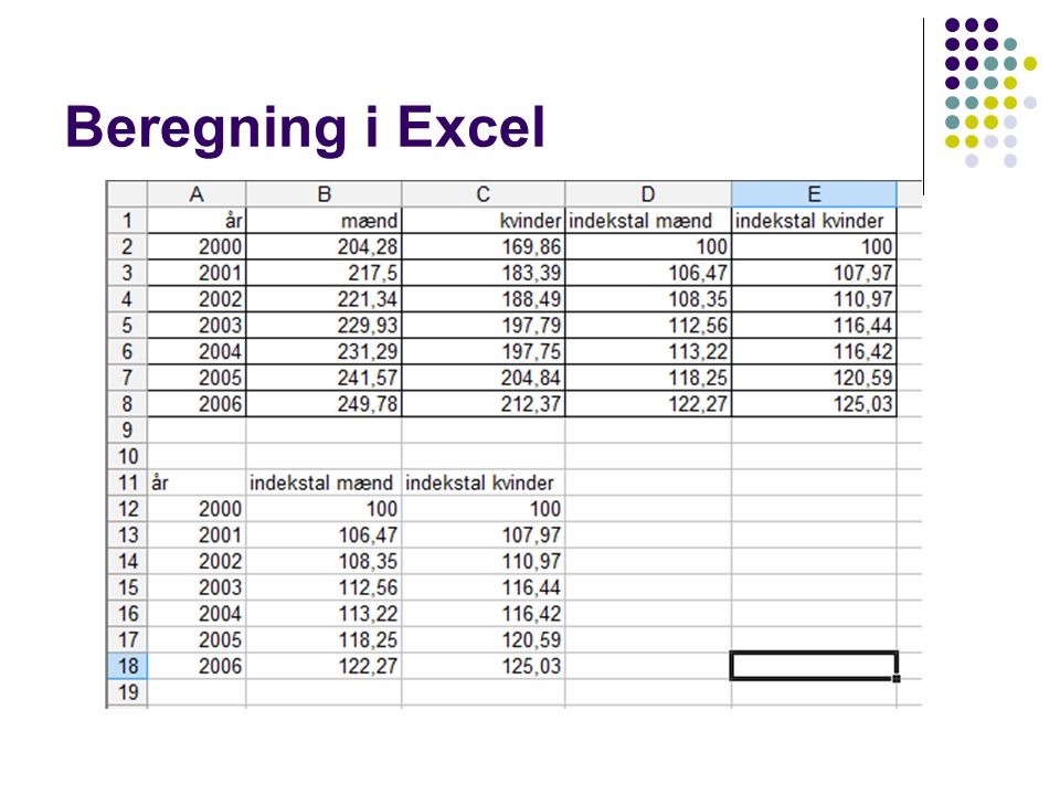 Beregning i Excel