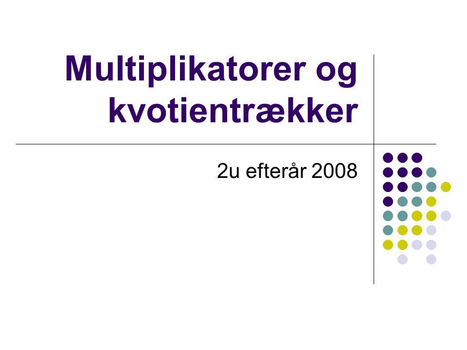 Multiplikatorer og kvotientrækker