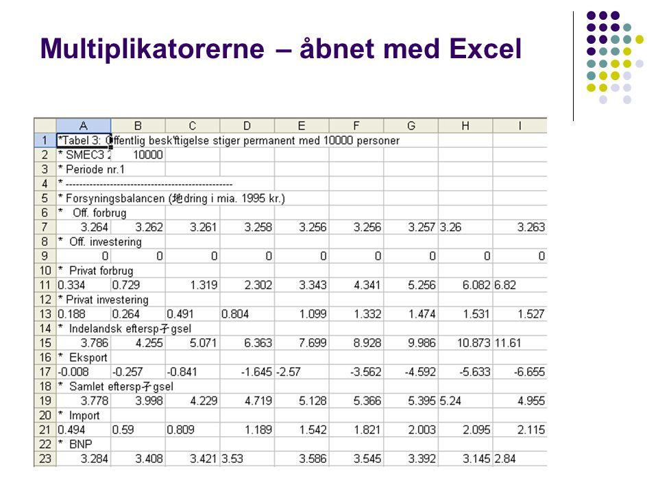 Multiplikatorerne – åbnet med Excel