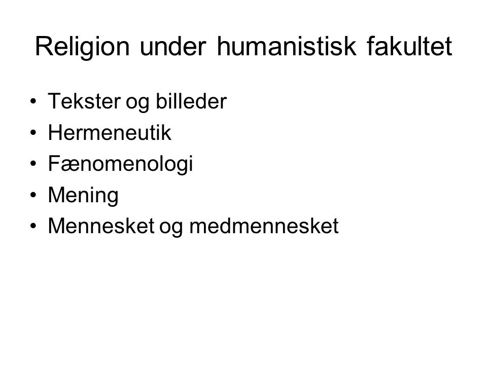 Religion under humanistisk fakultet