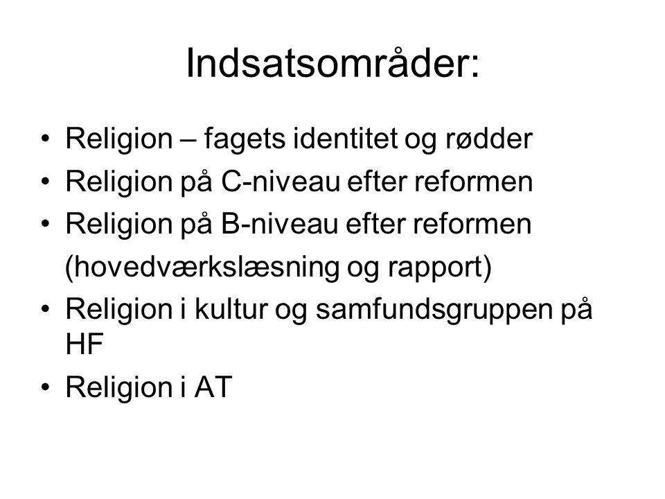 Indsatsområder: Religion – fagets identitet og rødder