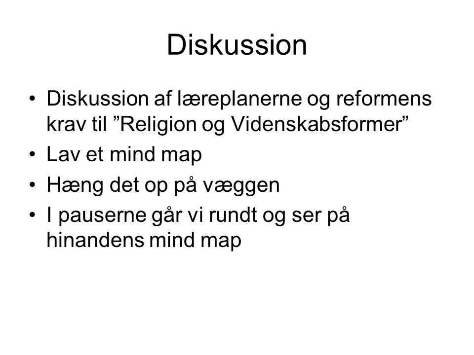 Diskussion Diskussion af læreplanerne og reformens krav til Religion og Videnskabsformer Lav et mind map.