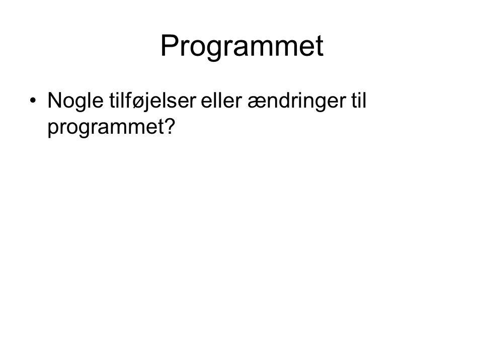 Programmet Nogle tilføjelser eller ændringer til programmet
