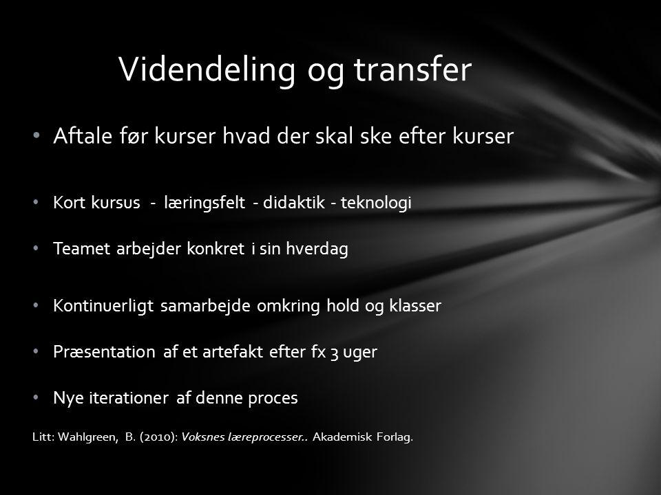 Videndeling og transfer