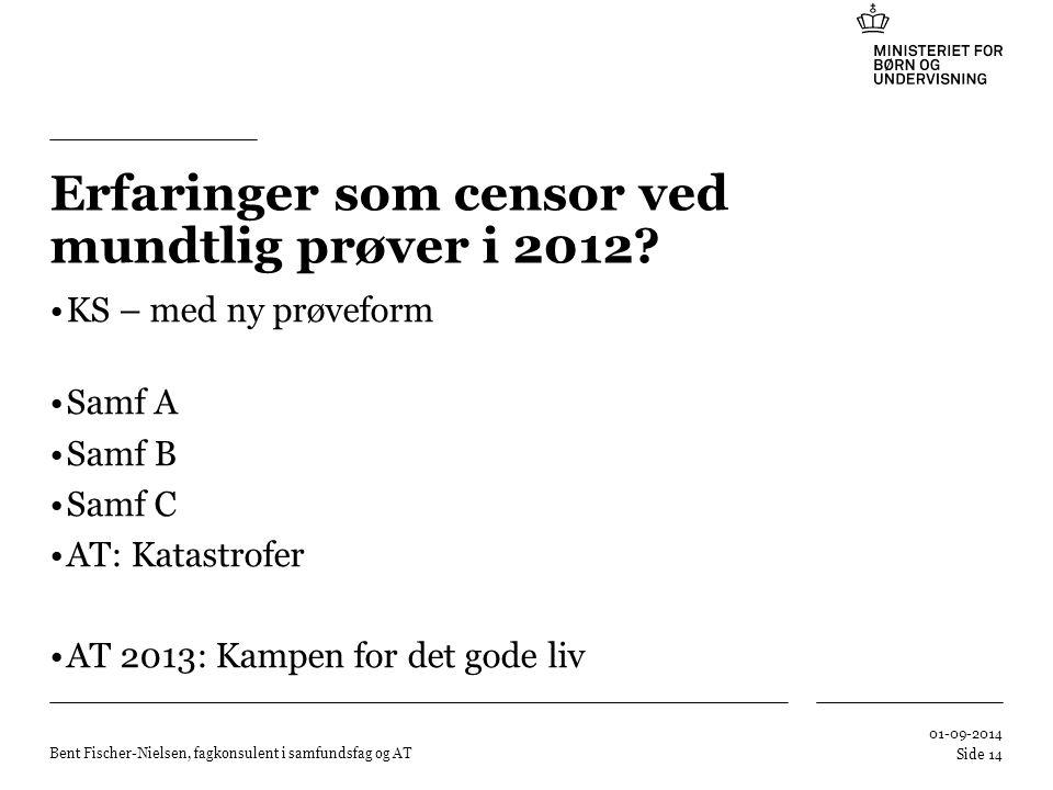 Erfaringer som censor ved mundtlig prøver i 2012