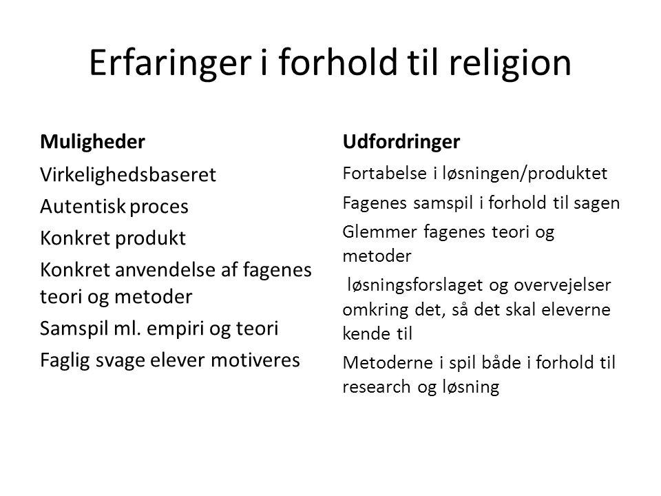 Erfaringer i forhold til religion