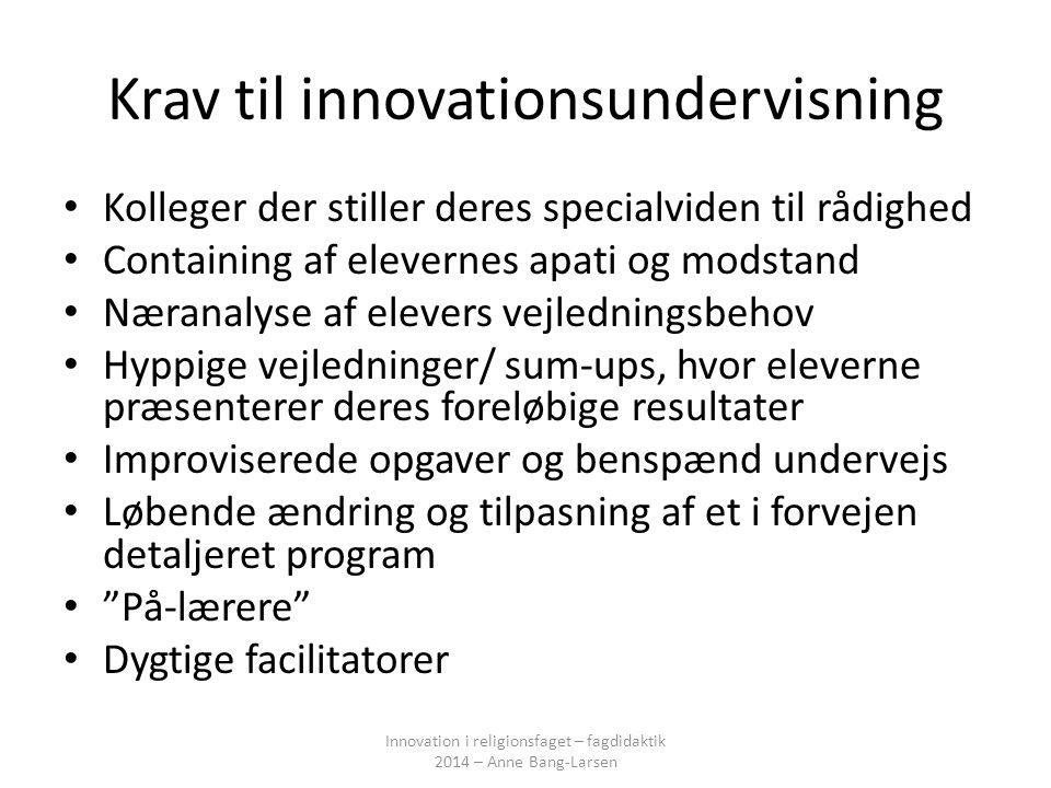 Krav til innovationsundervisning