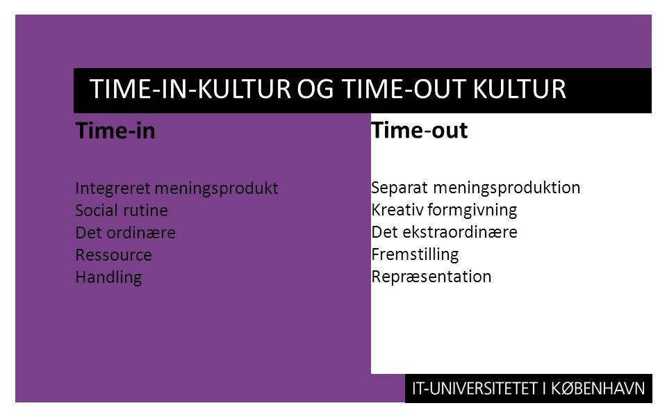 TIME-IN-KULTUR OG TIME-OUT KULTUR