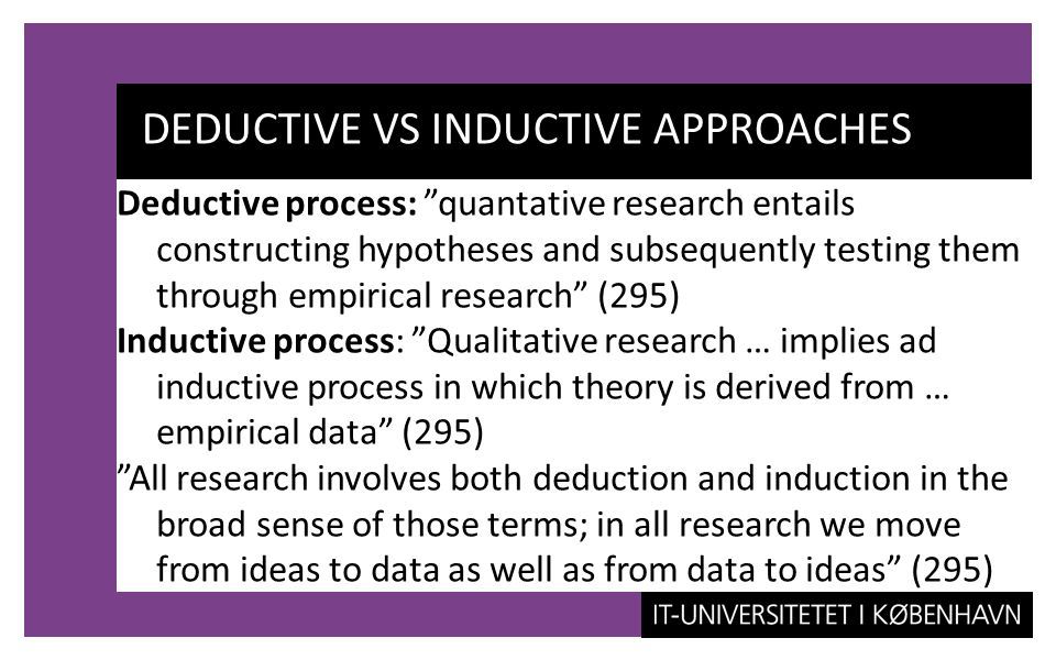 deductive research definition When a topic has so little research documented in the literature that there is no theory to guide practice, deductive reasoning and quantitative research may not be the most appropriate types of methods.