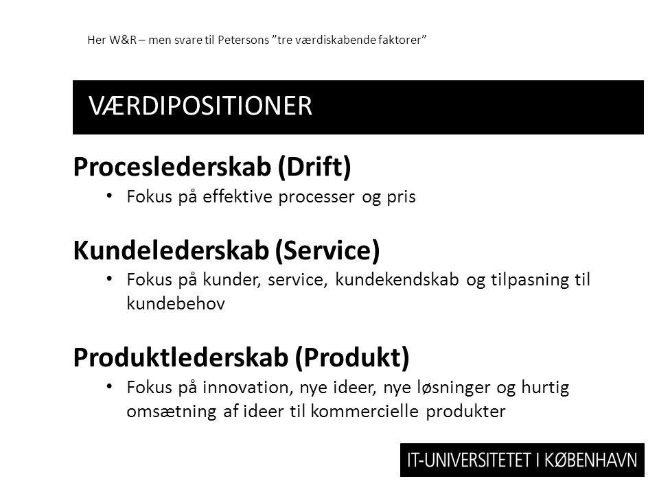 Proceslederskab (Drift) Kundelederskab (Service)