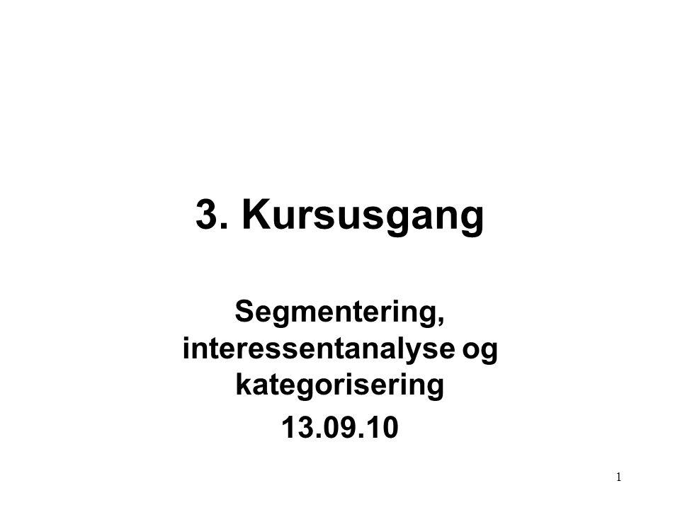 Segmentering, interessentanalyse og kategorisering 13.09.10