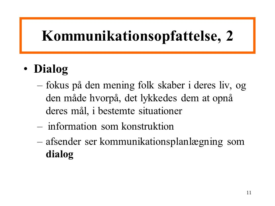 Kommunikationsopfattelse, 2