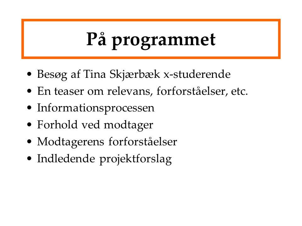 På programmet Besøg af Tina Skjærbæk x-studerende
