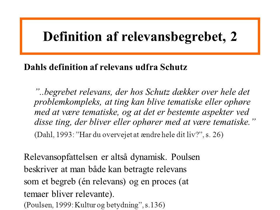 Definition af relevansbegrebet, 2