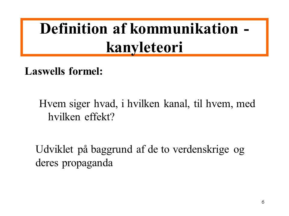 Definition af kommunikation - kanyleteori