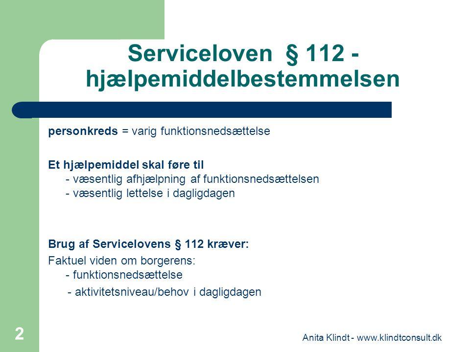 Serviceloven § 112 - hjælpemiddelbestemmelsen