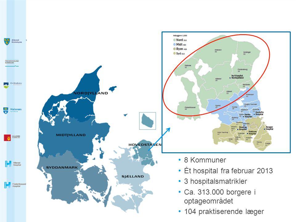 8 Kommuner Ét hospital fra februar 2013. 3 hospitalsmatrikler. Ca. 313.000 borgere i optageområdet.