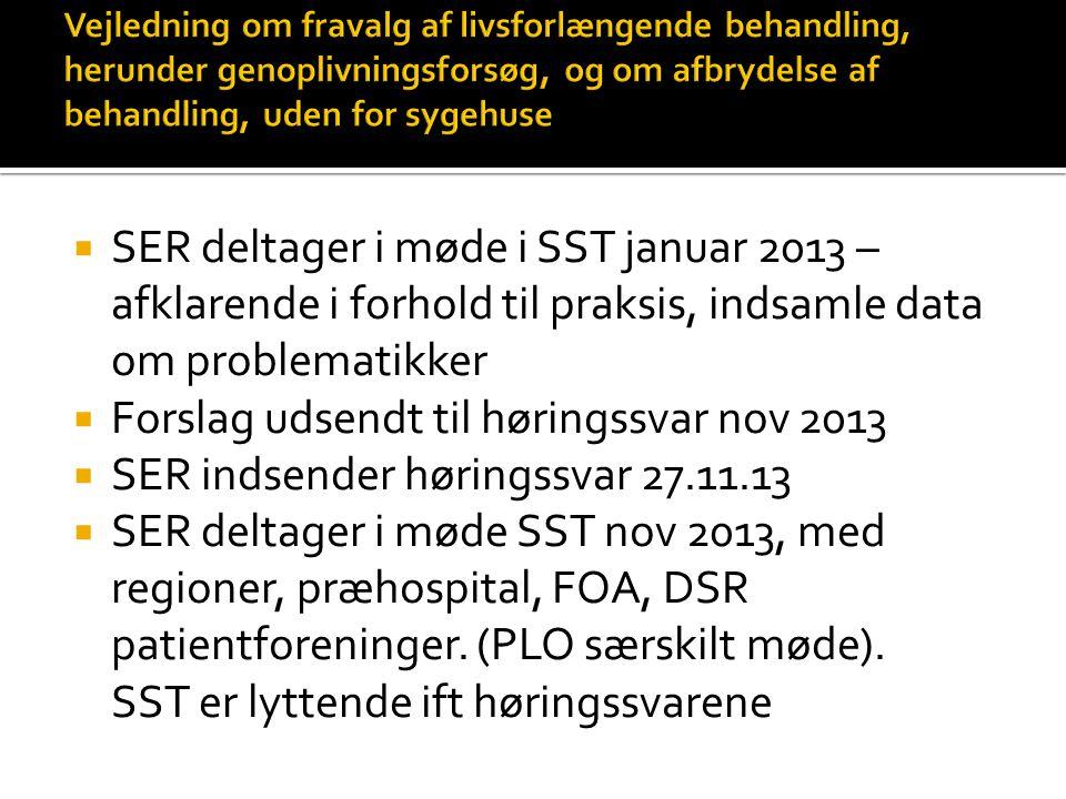 Forslag udsendt til høringssvar nov 2013