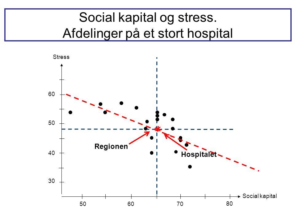 Social kapital og stress. Afdelinger på et stort hospital