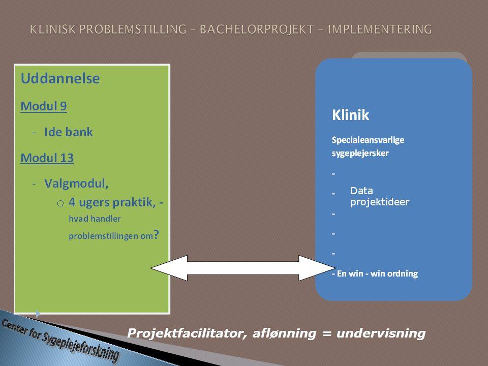 KLINISK PROBLEMSTILLING – BACHELORPROJEKT - IMPLEMENTERING